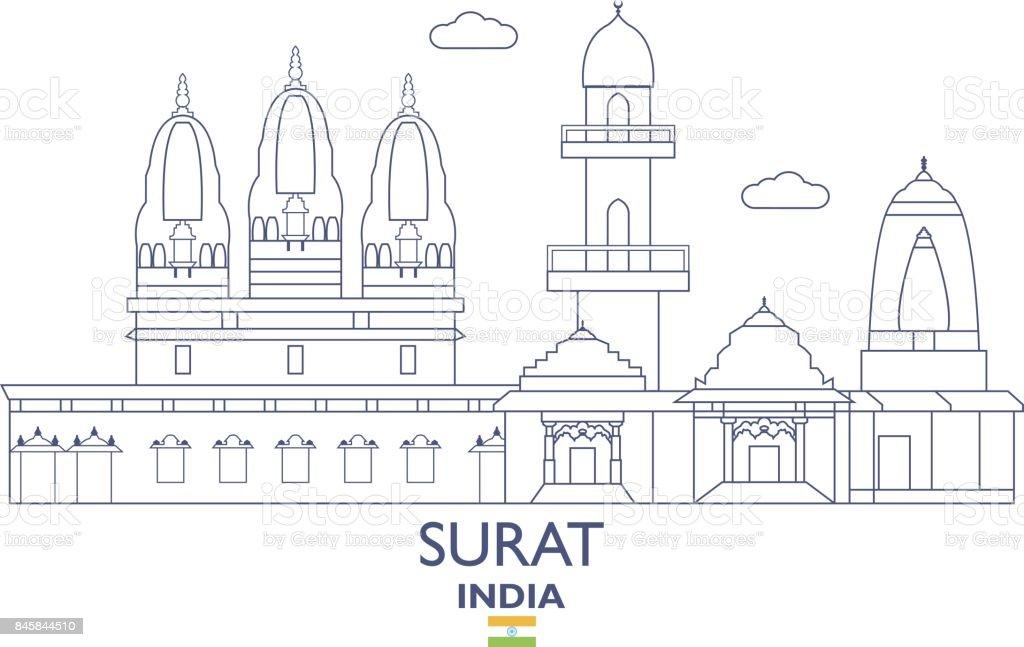 Surat City Skyline India Stock Illustration Download Image