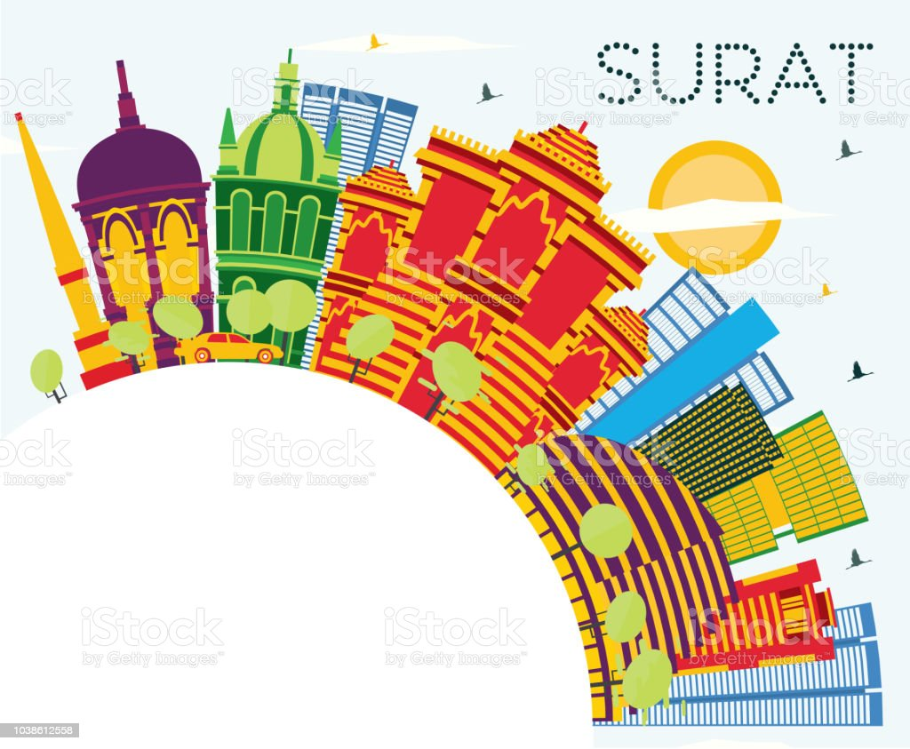 Surat India City Skyline With Color Buildings Blue Sky And