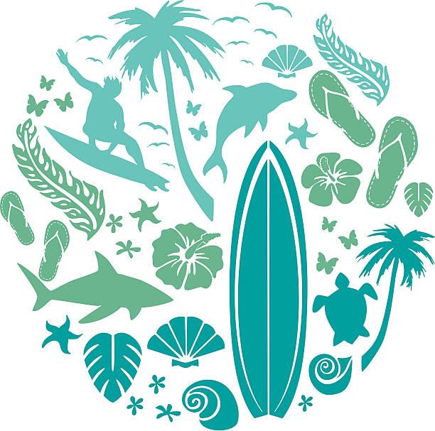 波とビーチの構成 - サーフィン点のイラスト素材/クリップアート素材/マンガ素材/アイコン素材