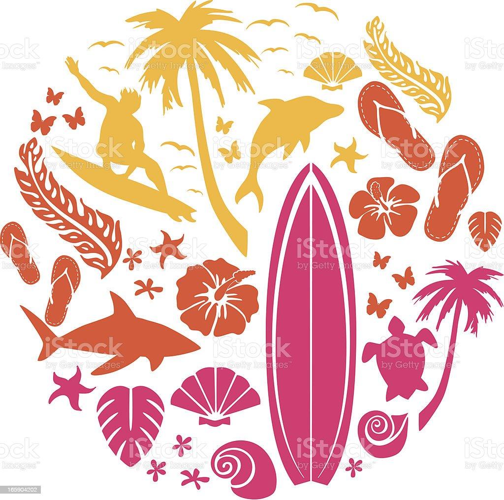 Surf and Beach Composition vector art illustration