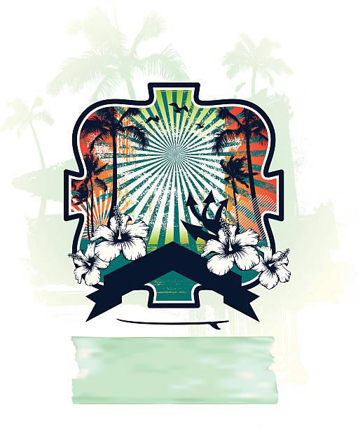 ilustrações de stock, clip art, desenhos animados e ícones de surf e cena de verão com lote de palmas - ibiza