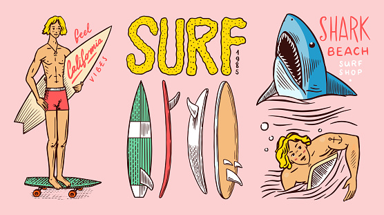 Surf badge, Vintage Surfer logo. Retro Wave and Summer pins. Man on the surfboard and shark. Engraved emblem hand drawn. Banner or poster. Sports in Hawaii
