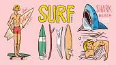 istock Surf badge, Vintage Surfer logo. Retro Wave and Summer pins. Man on the surfboard and shark. Engraved emblem hand drawn. Banner or poster. Sports in Hawaii 1274334558