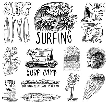 Surf badge, Vintage Surfer . Retro Wave and palm. Summer California pins set. Man on the surfboard, beach and sea. Engraved emblem hand drawn. Banner or poster. Sports in Hawaii