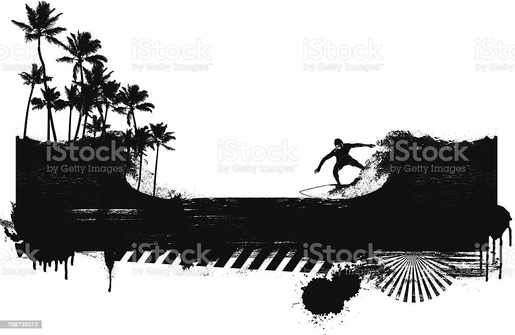 surf banner with rider and coast royalty-free stock vector art