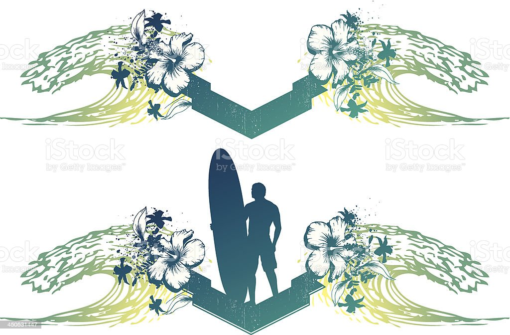 surf banner with two waves and hibiscus royalty-free surf banner with two waves and hibiscus stock vector art & more images of adventure