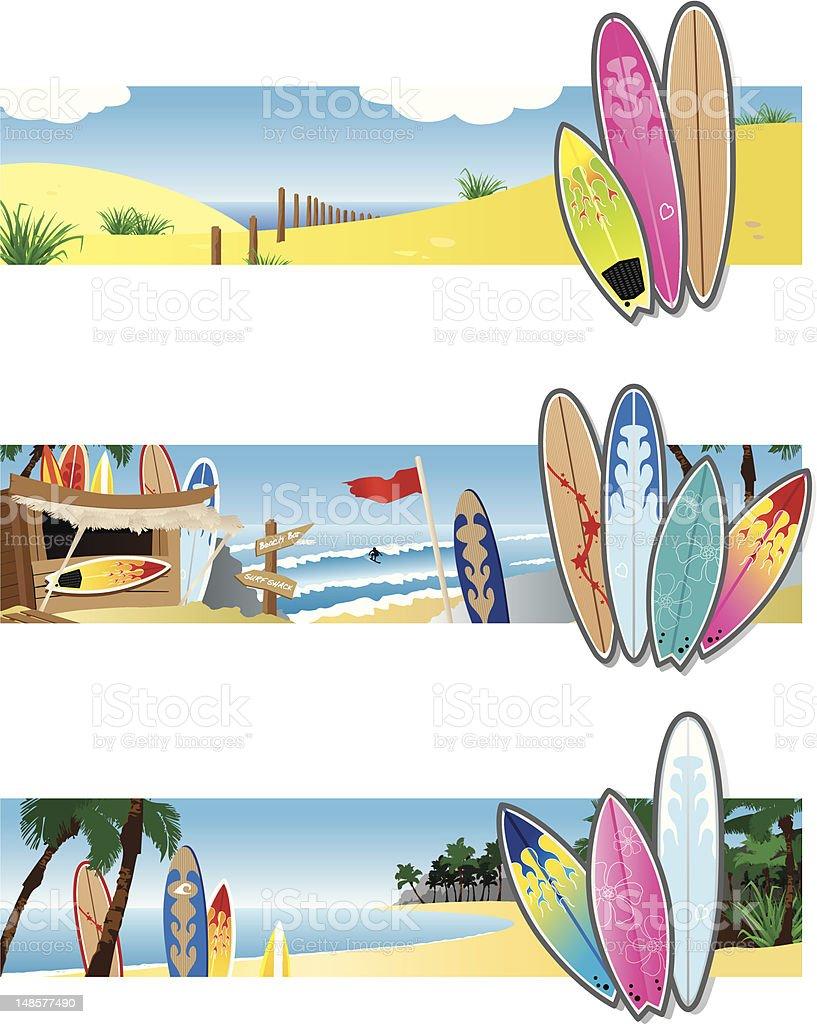 Surf Banners vector art illustration