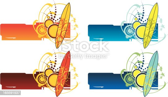 istock Surf banners with surfoboards 165591537