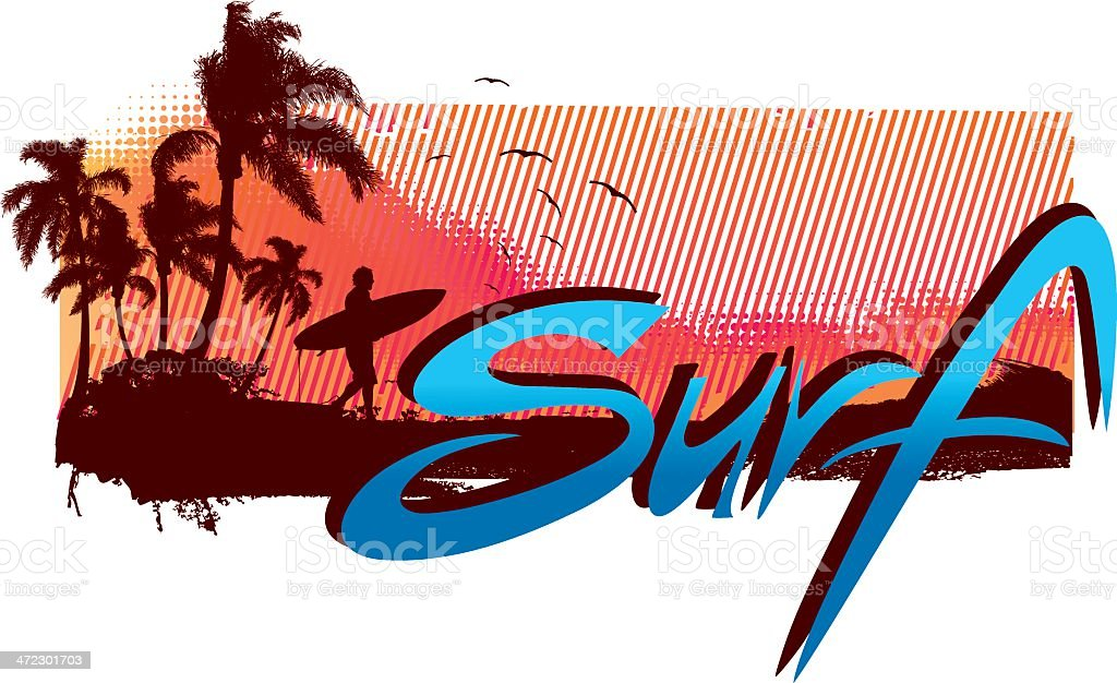 Surf beach scene royalty-free surf beach scene stock vector art & more images of adult