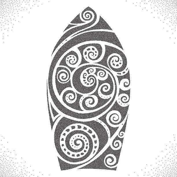 サーフボード。dotwork パターン - マリンのタトゥー点のイラスト素材/クリップアート素材/マンガ素材/アイコン素材