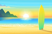 Surf board on a sandy beach. Sunrise or sunset, sand on bay and the mountain wonderful sun shines. Cartoon vector illustration.