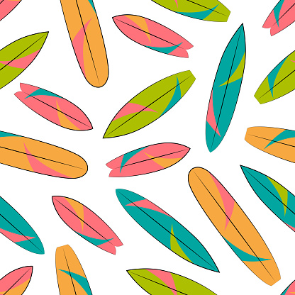 Surf board vector seamless pattern. Multi-colored seamless texture. Textile, wrapping paper, wallpaper design.