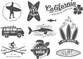 Surf boards emblem and badges vector set. Signs and elements for summer labels design. Ocean surfing label, illustration of summer surfing badge