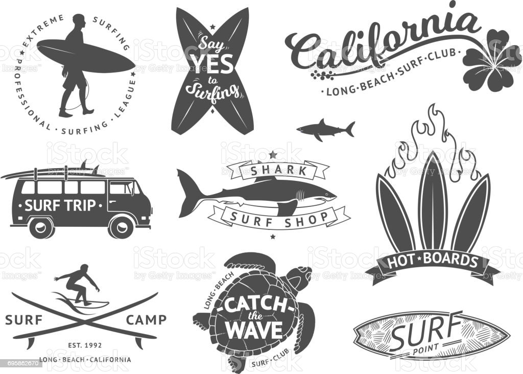 Surf boards emblem and badges vector set. Signs and elements for summer labels design vector art illustration