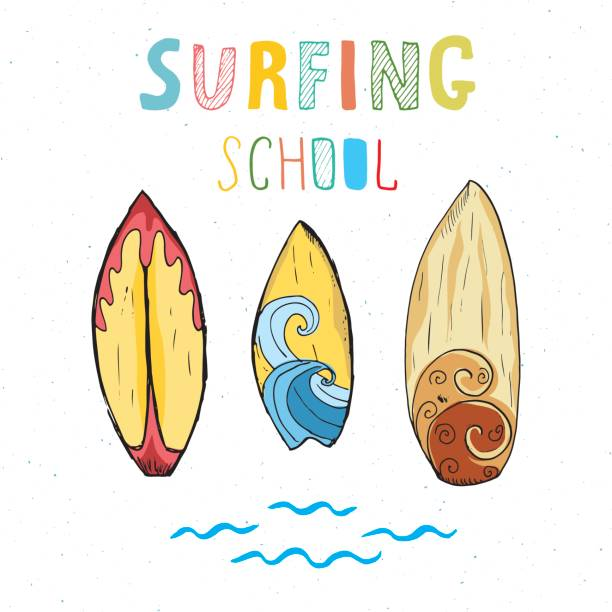 royalty free graphic surfing template with surfer surfboard and wave