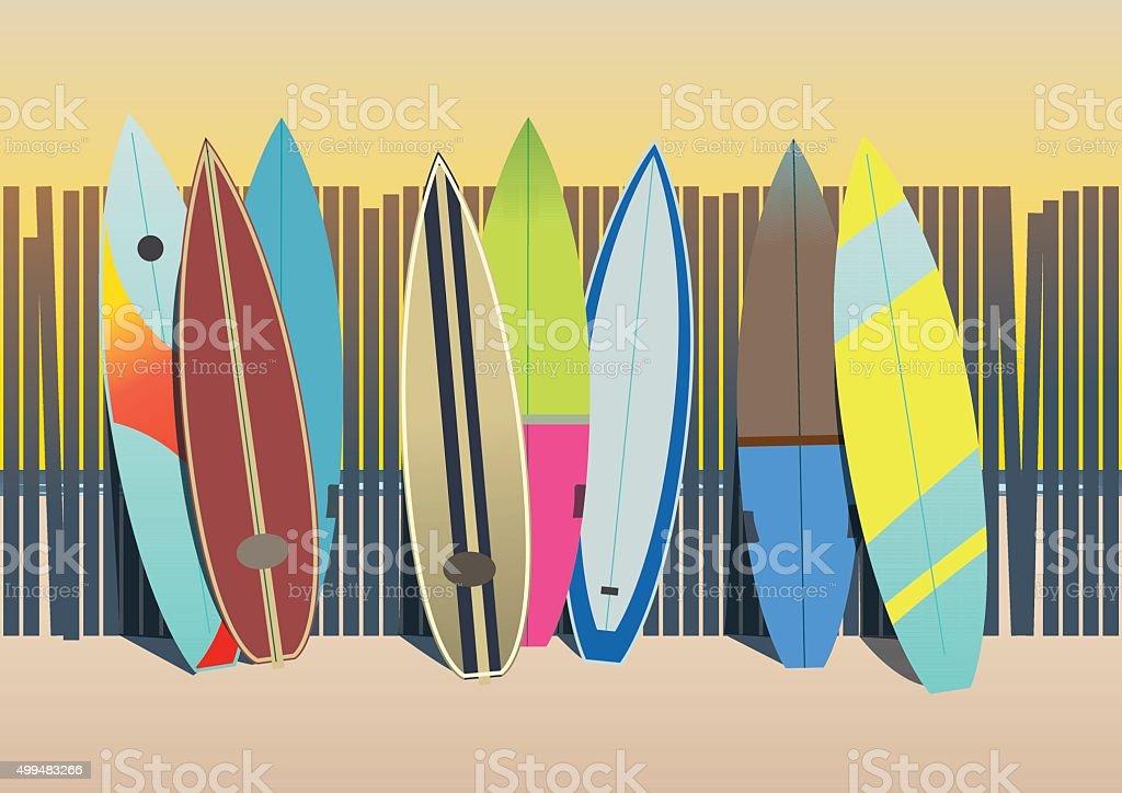 Surf boards in the beach vector art illustration