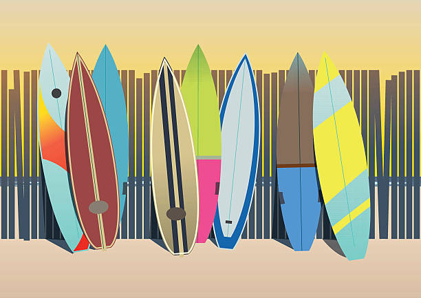 Surf boards in the beach vector art illustration