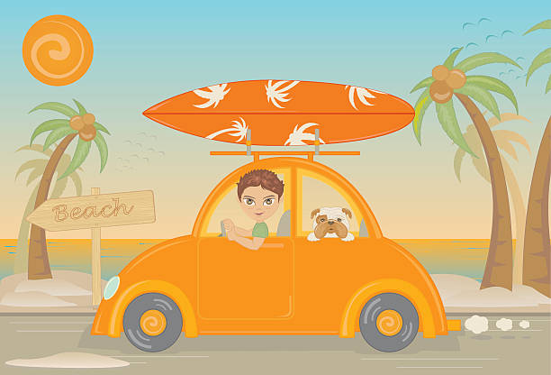 Surf boy vacation with dog vector art illustration