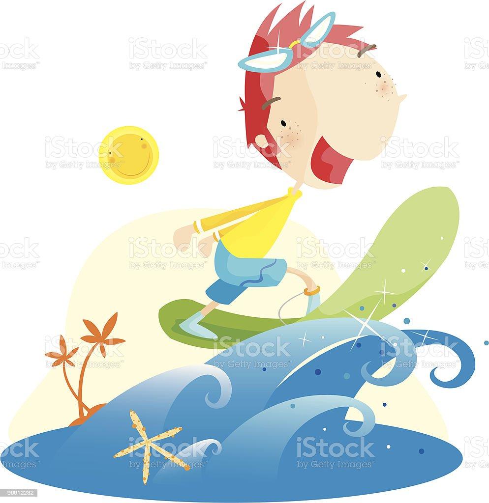 surf boy - Royalty-free Alleen kinderen vectorkunst