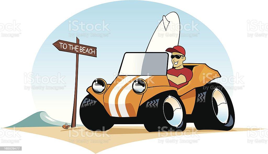 Surf Buggy Guy vector art illustration