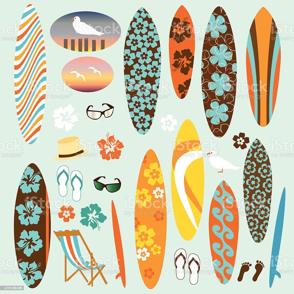 surf clipart vector art illustration