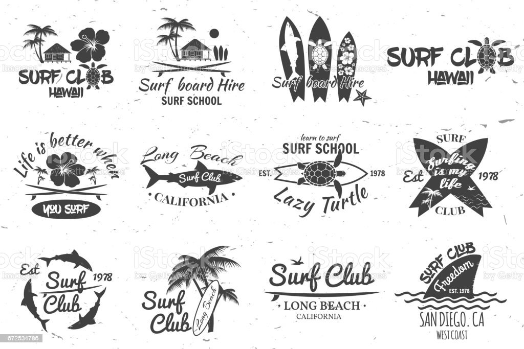 Surf club and surf school design vector art illustration