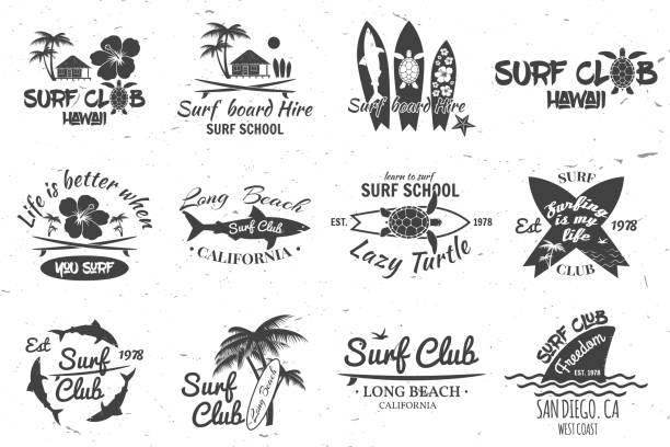 Surf club and surf school design Set of retro vintage badges and labels. For web design, mobile and application interface, also useful for infographics. Surf club and surf school design. Vector illustration. surf stock illustrations