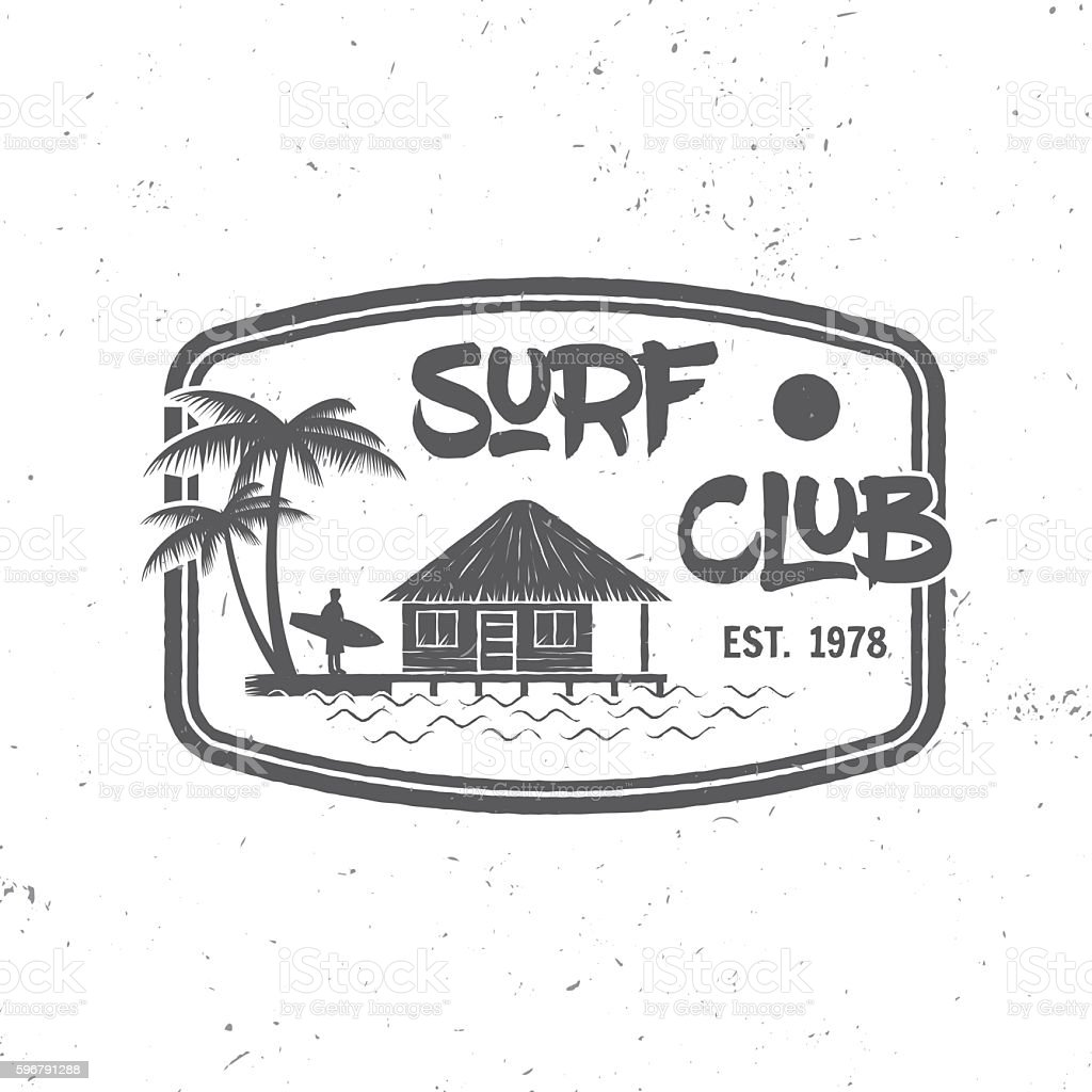 Surf club concept. vector art illustration