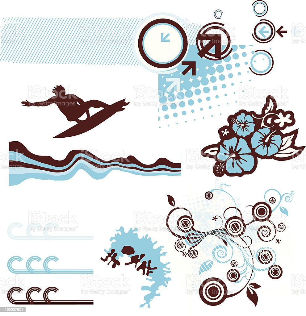 Surf elements royalty-free stock vector art