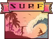 Surfing emblem with Surf lettering in ribbon and surfer silohuettes, walking to the ocean and riding a huge wave next to a palm-covered coastline.
