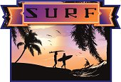 Surfing emblem with Surf lettering in ribbon.