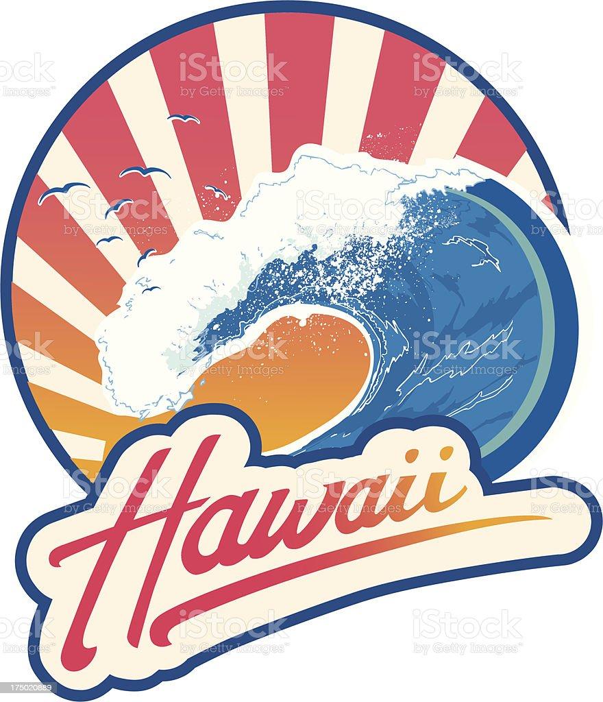 Surf emblem Hawaii royalty-free stock vector art