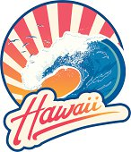 Surf Lifestyle emblem with Hawaii lettering, big wave and sunset with seagulls at background.