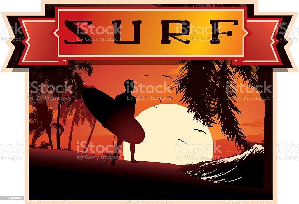 Surf Emblem Sunset Beach royalty-free stock vector art