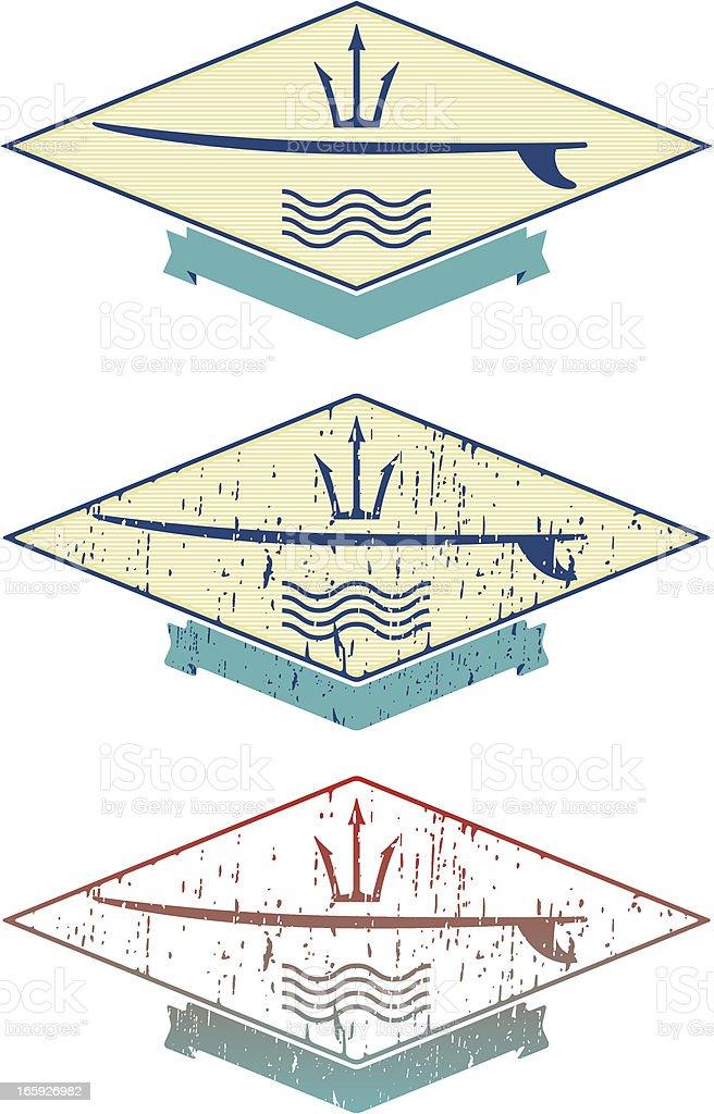 surf emblem vector art illustration