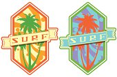 Surf Lifestyle emblems with Surf lettering,  palmtrees, and colourful pattern at background.