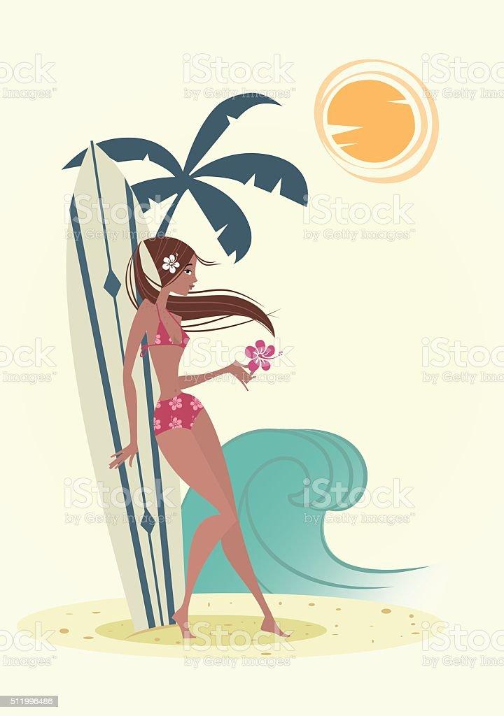 Surf ragazza-Illustrazione - illustrazione arte vettoriale