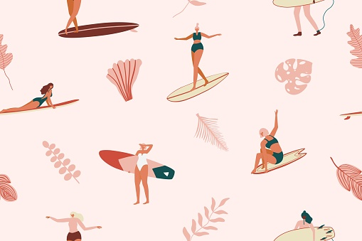 Surf girls character in swimsuit with a shortboard and Longboard seamless pattern. Retro Surfing tropical seamless pattern in vector. Summer design for fabric, wallpaper, packaging paper, backgrounds and decor.