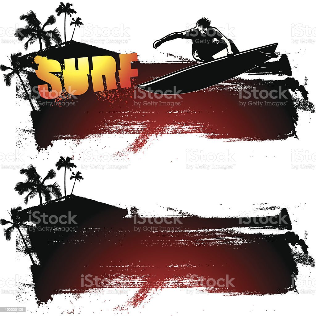 surf grunge banner with text palms and surfer royalty-free surf grunge banner with text palms and surfer stock vector art & more images of adult