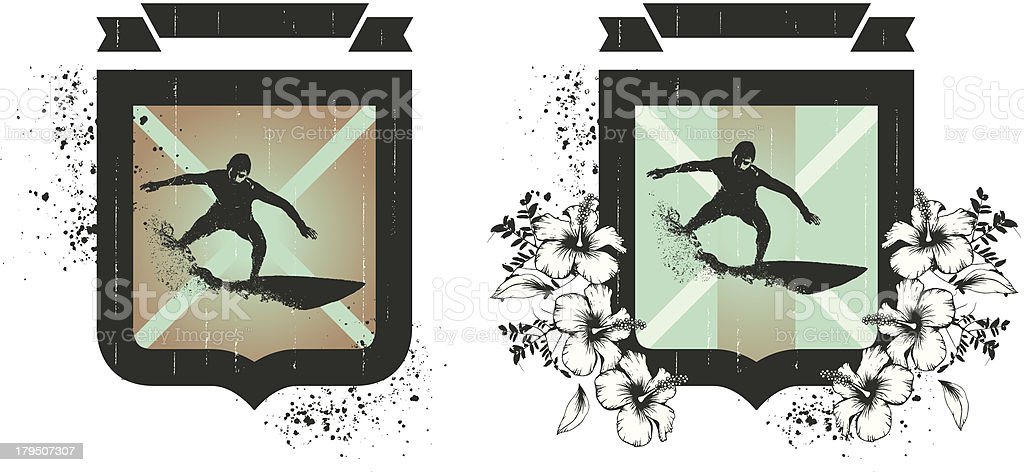 surf grunge shields with riders and hibiscus royalty-free stock vector art