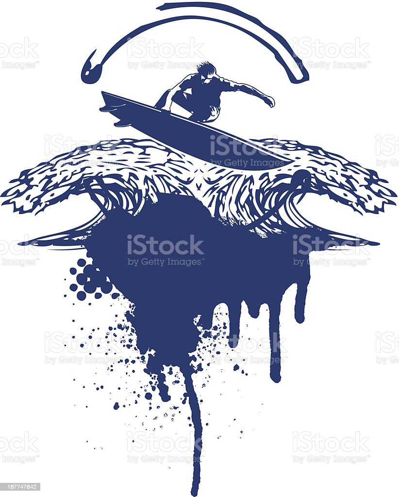surf jump with two waves and grunge background royalty-free surf jump with two waves and grunge background stock vector art & more images of adult