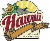 Hawaii Surfing holidays label retro style, with beach landscape at background, surfer, sunset and hibiscus.