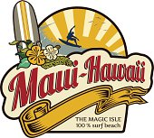 Maui-Hawaii Surfing holidays label retro style, with beach landscape at background, surfer, sunset, hibiscus and surfboard.