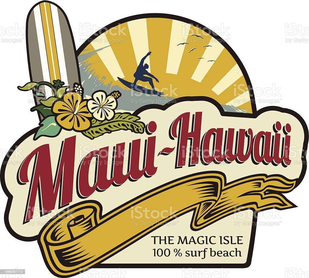 Surf label Maui-Hawaii holidays vector art illustration