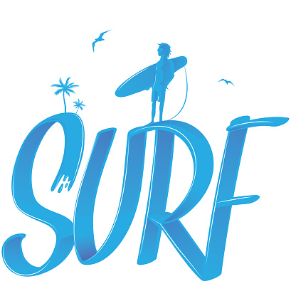 surf lettering with palms and surfer , 3d style. vector illustration