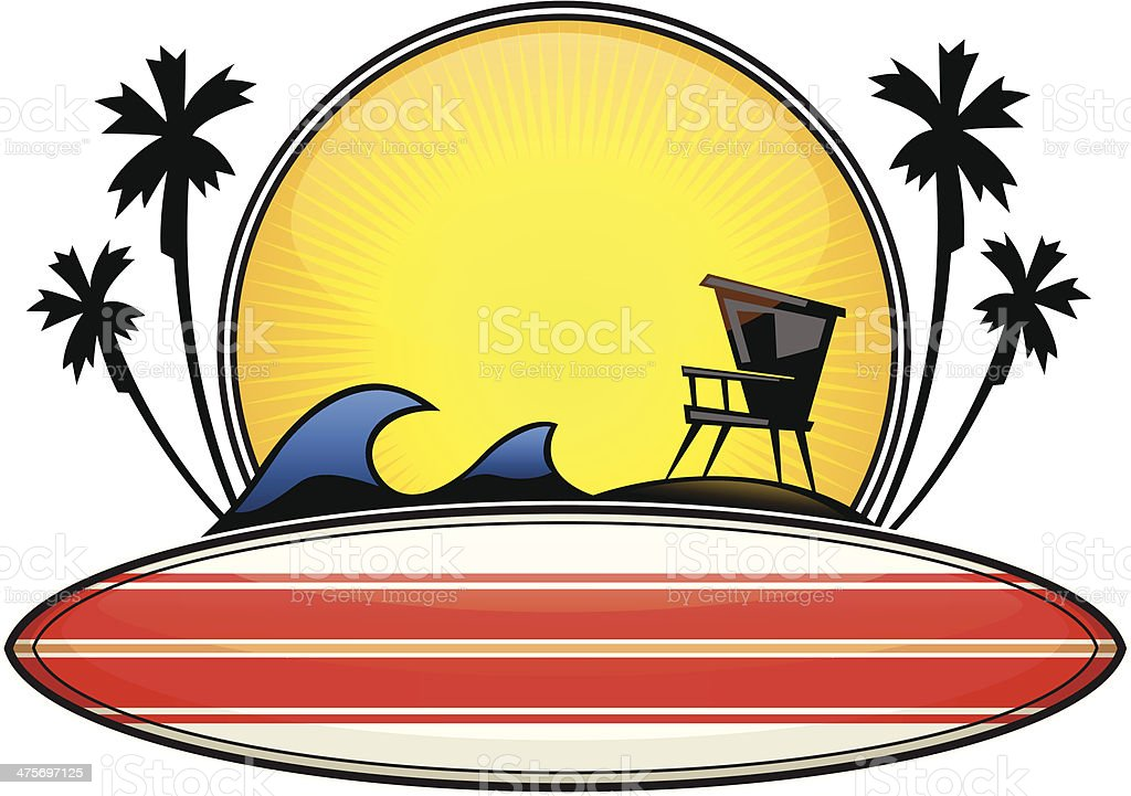 surf lifeguard tower crest vector art illustration