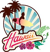 Surf Lifestyle emblem with Hawaii lettering, and surfer walking at sunset with palm trees and hibiscus.