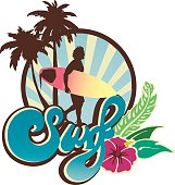 Surf Lifestyle emblem with surf lettering and surfer walking at sunset with palm trees and hibiscus.