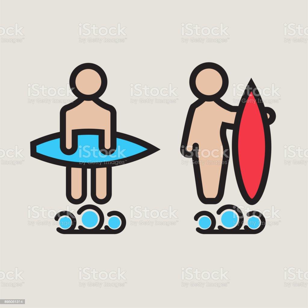 Surf Logo Or Emblem Design For Toilet Stock Vector Art & More Images ...