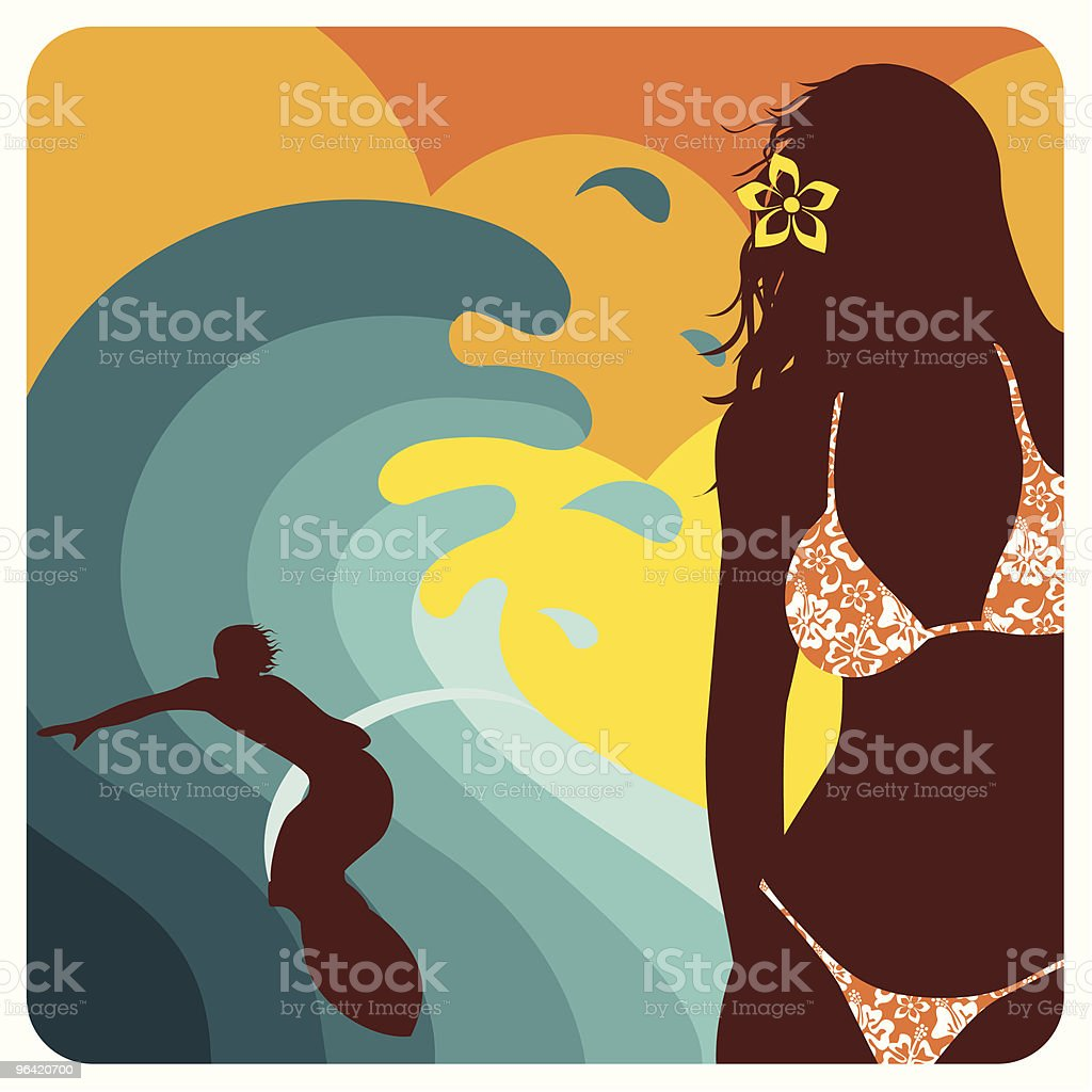 Surf love. Sexy girl and surfer guy. Couple, illustration, royalty-free stock vector art